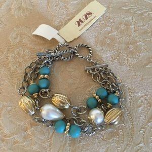 NEW faux turquoise & Pearl multi-strand bracelet